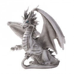 WHITE CHECKMATE DRAGON SCULPTURE